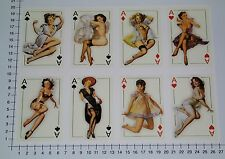 PIN UP ASSO 8er Set adesivi sticker ACE Oldschool Girls Tatuaggio Hot Rod v8 se27