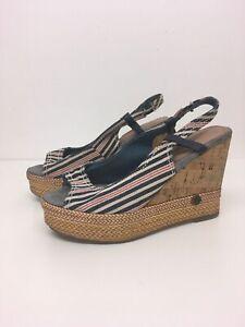 Women-s-Wrangler-Red-White-Blue-Textile-Sling-Back-Wedge-Heel-Sandals-Size-UK-3