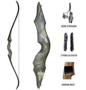 Black-Hunter-60Zoll-Bogenschiessen-Takedown-Recurvebogen-Holzbogengriff-RH-25lb