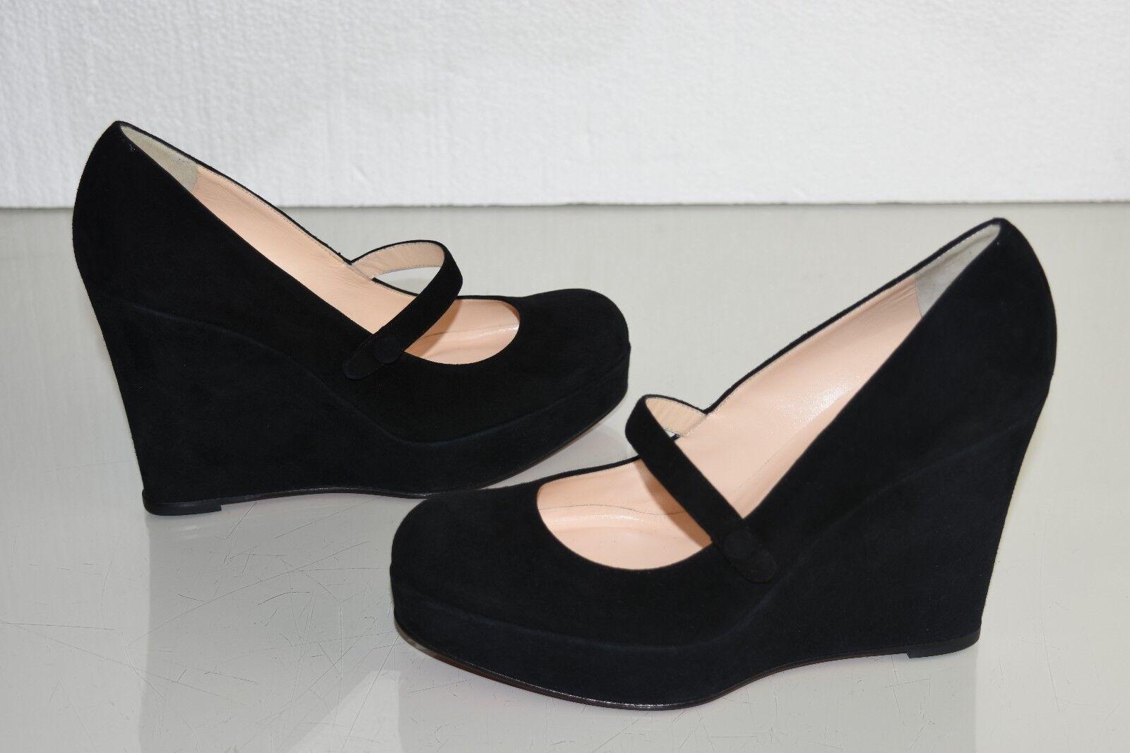 NEW Christian Louboutin WALLYS ZEPPA ZEPPA ZEPPA 110 Wedges Suede Black Platform shoes 40 d2bf3e