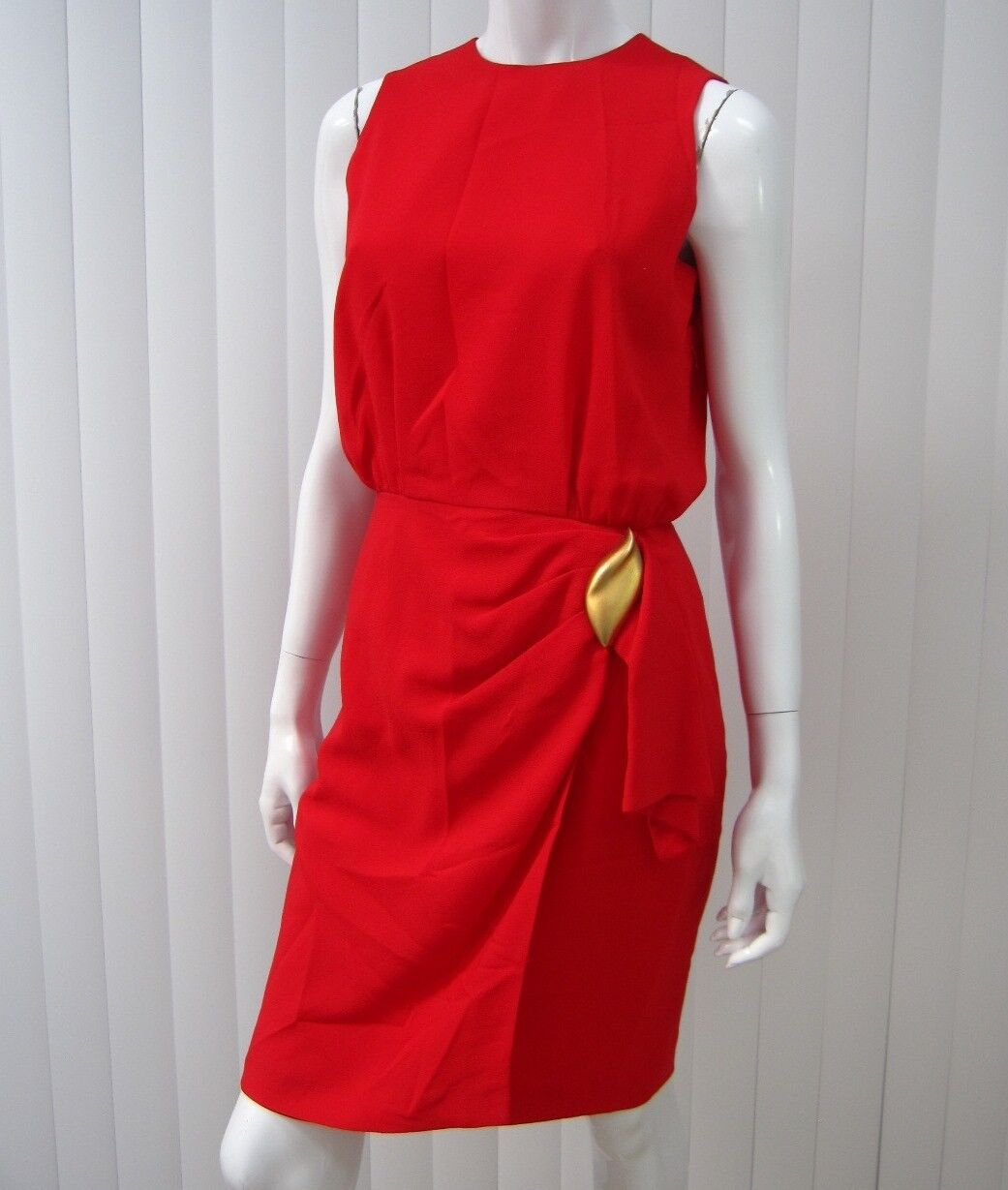 JONES NEW YORK VINTAGE SLEEVELESS DRESS SIZE 4 SOLID RED