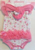 Baby Girl 3 Pc Onesie Socks Headband Bodysuit Tutu Satin Bow Spring Summer
