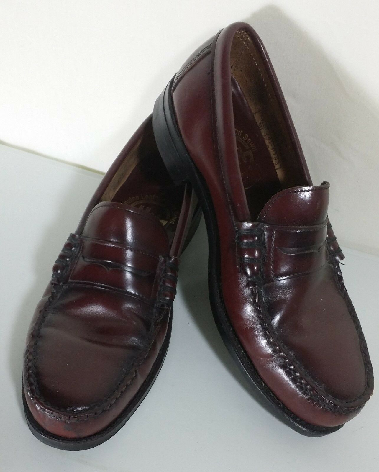 H.H. Cordovan Burgundy Penny Loafers Men's 9M Leather Slip On Dress shoes