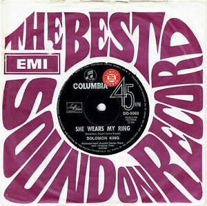 SOLOMON-KING-SHE-WEARS-MY-RING-RARE-7-034-45-SAMPLE-VINYL-RECORD-1967
