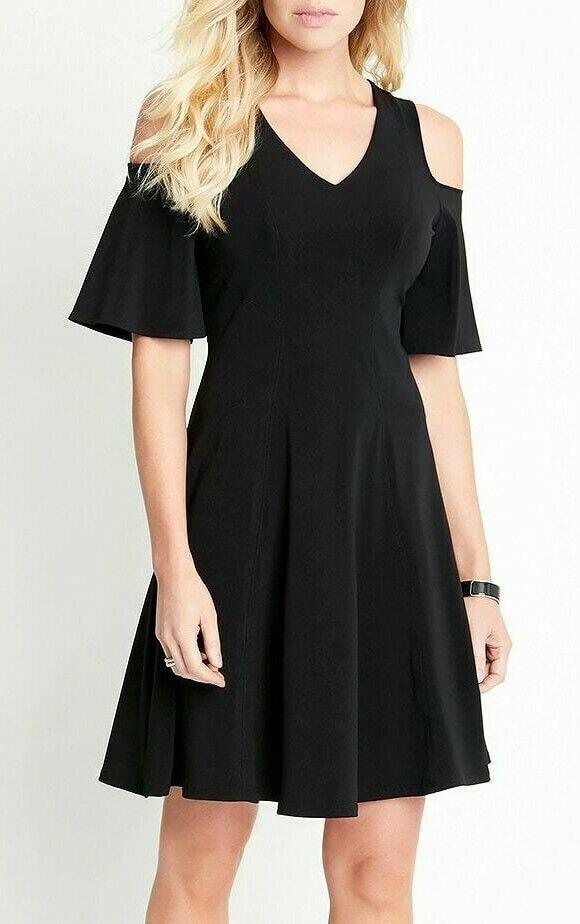 a5f0c683cbe Karen Kane L51526 schwarz Fit Flare Cold Shoulder Stretch Jersey Dress -