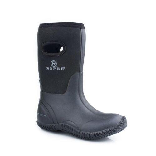 Roper Big Kids Rubber Black Barn Boots