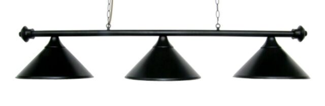 55 Pool Table Light Billiard Lamp Black With Metal Shades For 7 Or 8