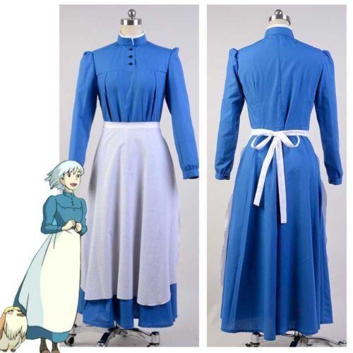 Howls Moving Castle Sophie Hatter Maid Uniform blue Dress Cosplay Costume