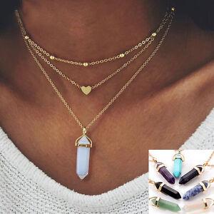 Al-por-mayor-corazon-Triple-Capas-Collar-Colgante-de-piedras-preciosas-Naturales-Reiki-Chakras