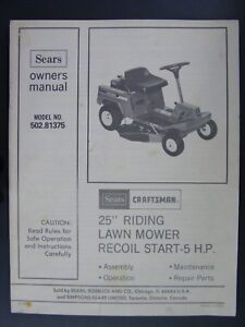 sears craftsman 502 81375 25 riding lawn mower owners parts rh ebay com sears craftsman lawn mower owners manual Zero Turn Mower Owners Manual