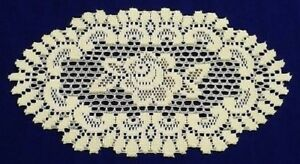 2-Ivory-Heritage-Lace-7-75-034-x-13-5-034-Oval-Alpine-Rose-Doilies-Free-Shipping