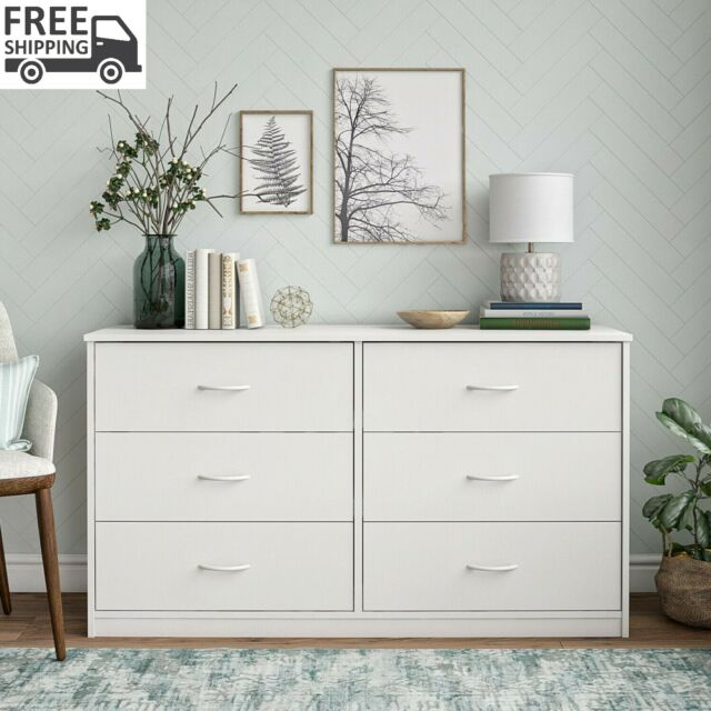 Double Dresser 6 Drawer Storage Bedroom