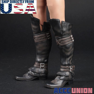 1 6 Assassin S Creed Leather Boots Black Roman Soldier Armor For