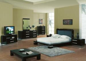Details about B99 - KING & QUEEN SIZE MODERN BLACK HIGH GLOSS LACQUER  BEDROOM SET 5 PCS