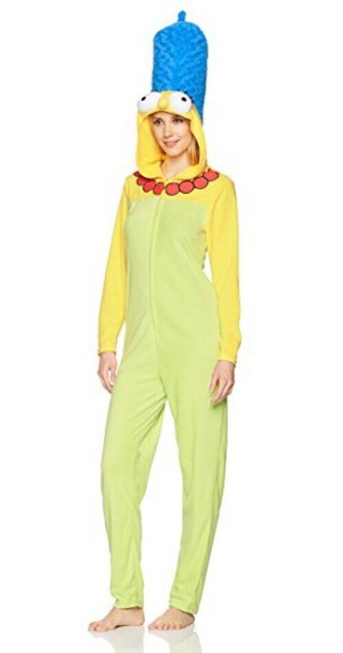 The Simpsons Marge Simpson Woman's 1 Pc Hooded Pajama Fleece Costume Sz XL
