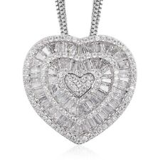 White Cubic Zirconia CZ Triple Strand Heart Chain Pendant Necklace for Women 20""