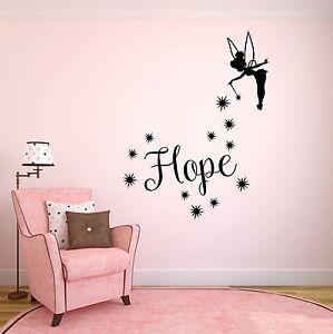 FidèLe Personnalisé Filles Nom & Tinkerbell Wall Art Autocollant-enfants Chambre à Coucher-afficher Le Titre D'origine