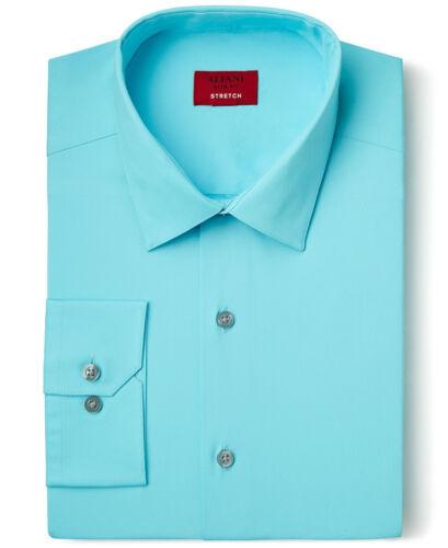 NWT $93 ALFANI Men SLIM-FIT STRETCH BLUE LONG-SLEEVE DRESS SHIRT 16-16.5 34//35 L