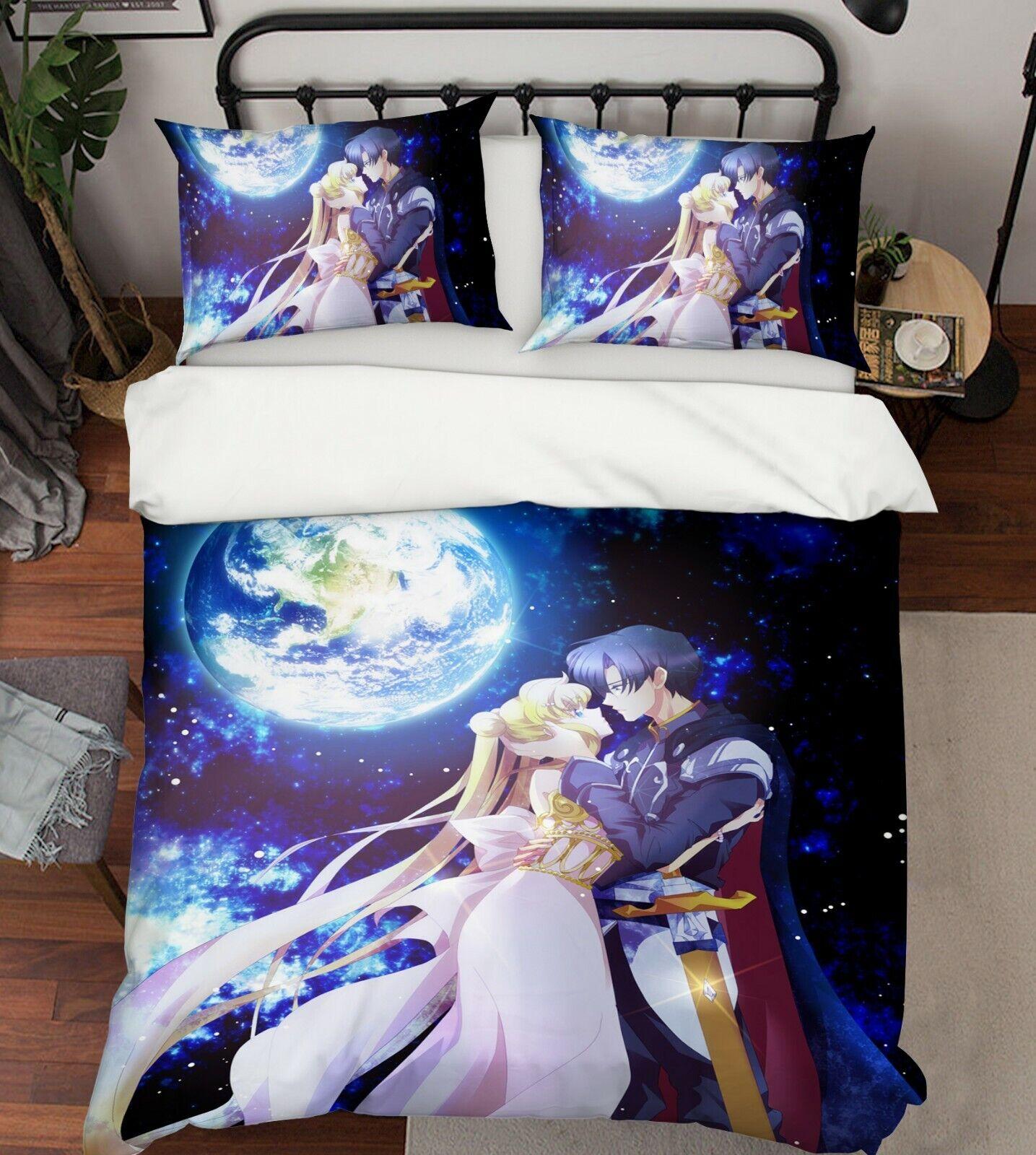 3D Sailor Moon Couple 7 Japan Anime Bed Pillowcases Quilt Duvet Cover Set Single