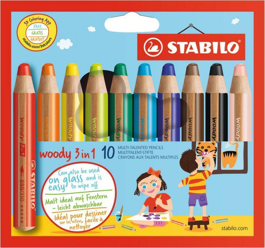 STABILO woody 3 in 1 Buntstift,Wasserfarbe,Wachsmalkreide 18,10,6 Etui Schpitzer | Reichhaltiges Design  | Deutschland Shop  | Modern