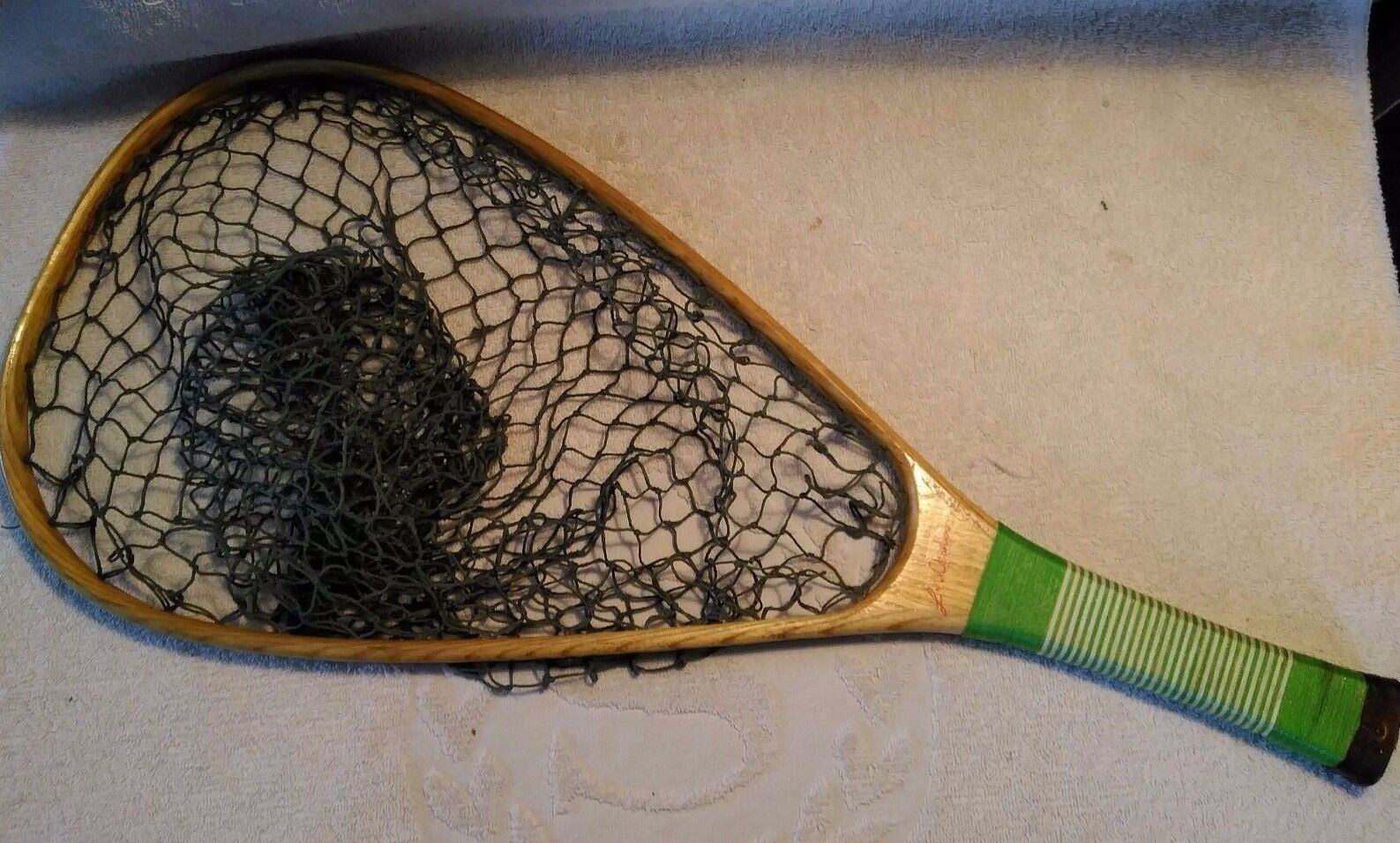 Wooden Handle Trout Landing Net String Wrapped Handle Vest Type 23 1 2   Long