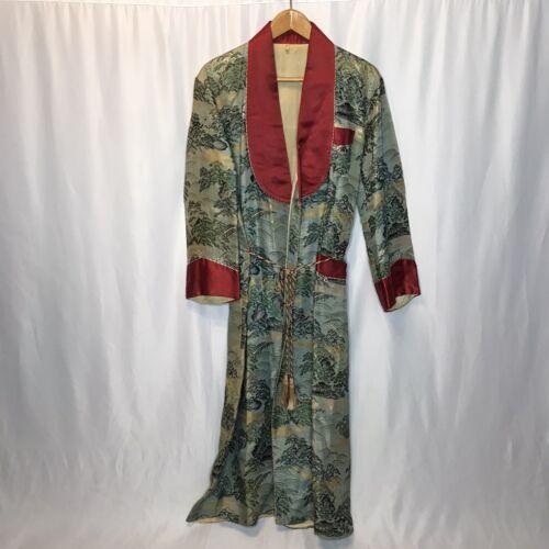 Vintage Asian Brocade Robe 40s 50s Mens M/L Smokin