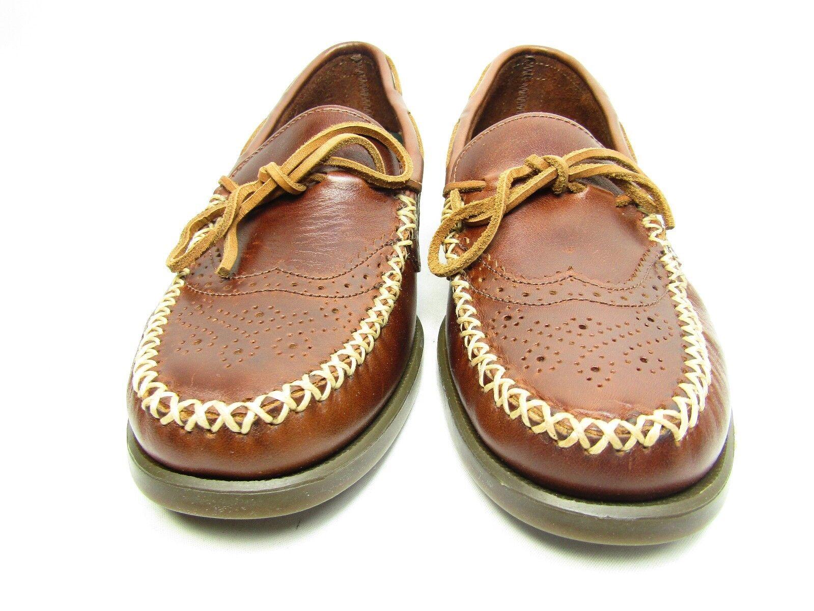 Sebago Campsides Wingtip  Moccasins Mens  Brogue  Brown Leather shoes Size 7M