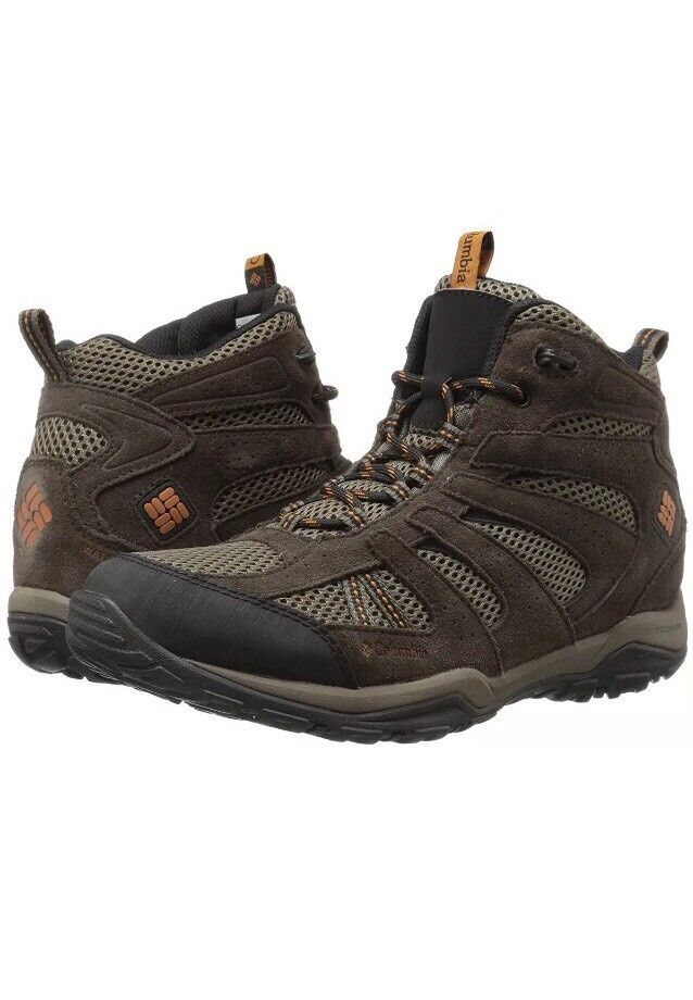 NEW COLUMBIA MENS NORTH PLAIN DRIFTER MID WATERPROOF BOOTS MUD / BRIGHT COPPER