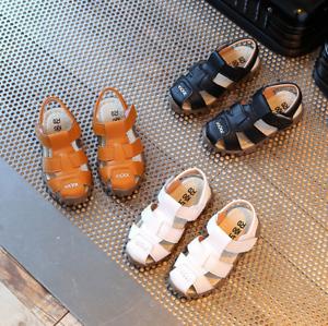 Children Kids Summer Shoes Baby Boy Closed Toe PU Sandals Beach Flat Sandals