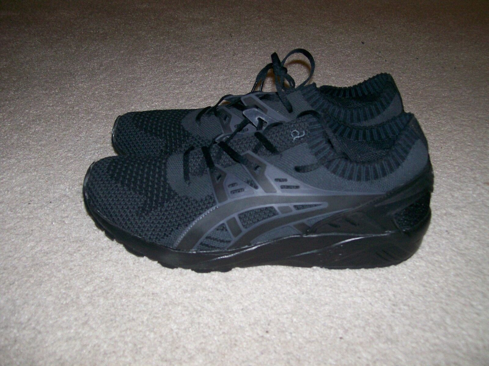 SZ 12 NEW hommes ASICS Gel-Kayano Trainer Running Knit Low noir Gris Casual Chaussures