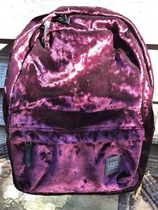 e5636ac763 Image is loading Vans-Deanna-Crushed-Velvet-Backpack-Burgundy-One-Size-