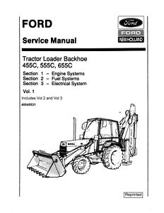 Details about FORD 455C 555C 655C Tractor Loader Backhoe Service Repair on