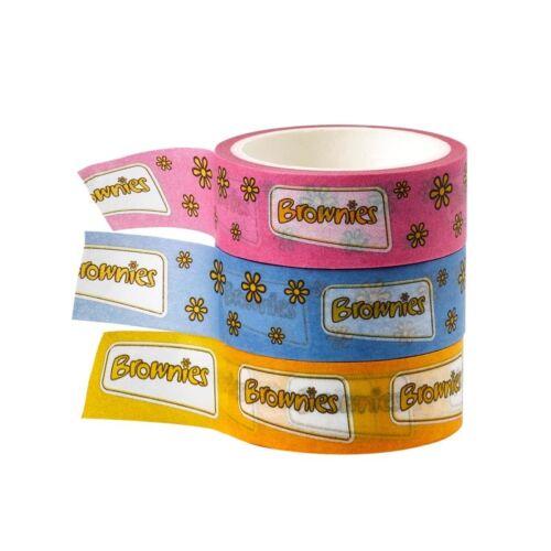 Brownie Washi Tape Confezione da 3 uniforme Brownie UFFICIALE GIRLGUIDING NUOVO