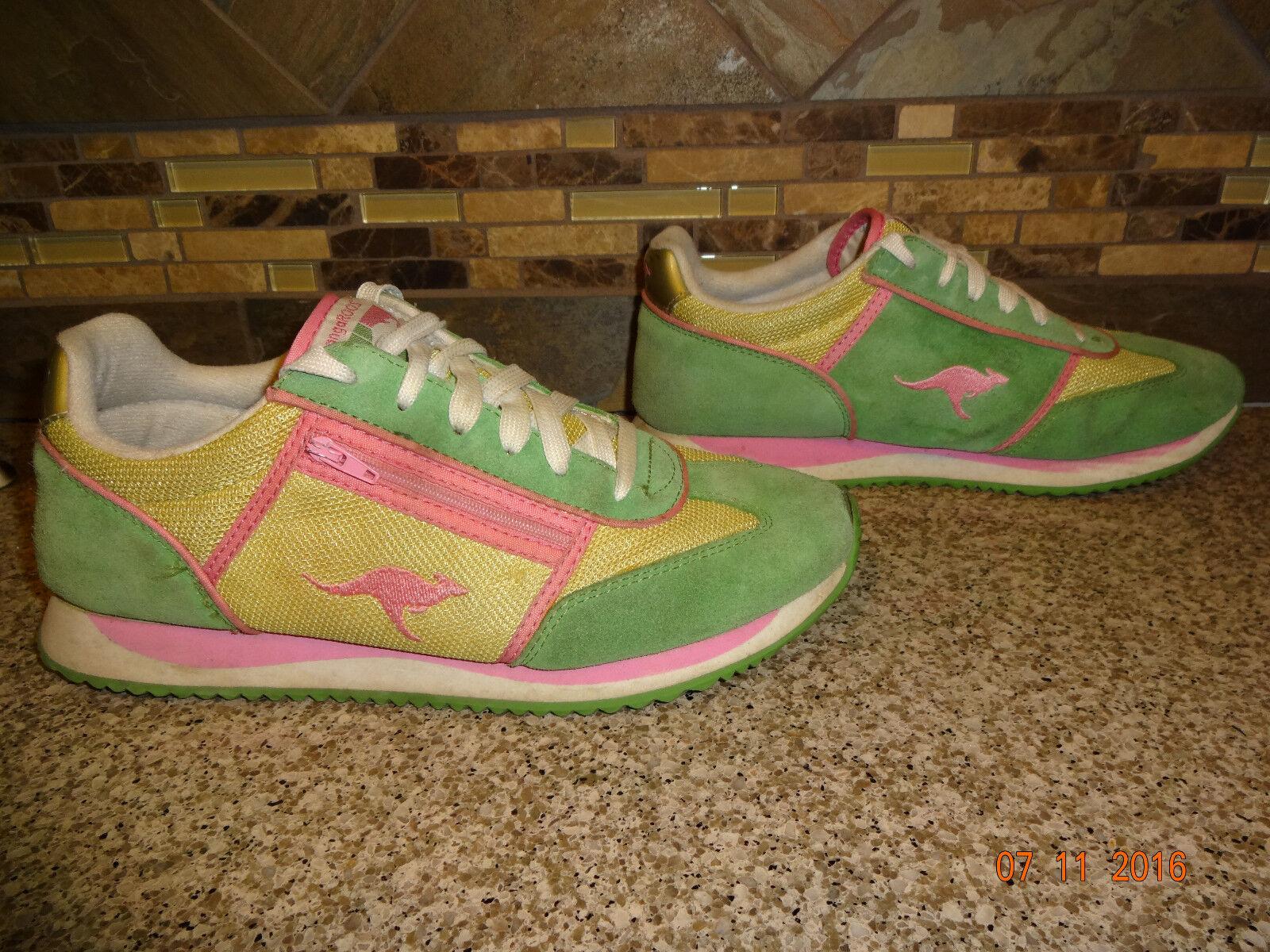 Vintage Sz Donna KangaKOOS Sz Vintage 9 EUR 40 Green/Yellow/Pink Athletic Shoes Zipper d3da85
