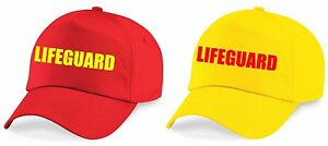 LIFEGUARD-Printed-Baseball-Cap-Yellow-Red-Hat-Outfit-Fancy-Dress-Costume-L1