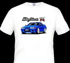 NISSAN-R32-GT-R-GTR-SKYLINE-QUALITY-WHITE-TSHIRT-6-CAR-COLOURS