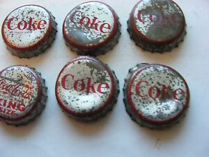 Lot-of-6-USA-Coca-Cola-WHS-Bottle-tops-caps-Used-1950s-cork-liner-6-Fl-Ozs