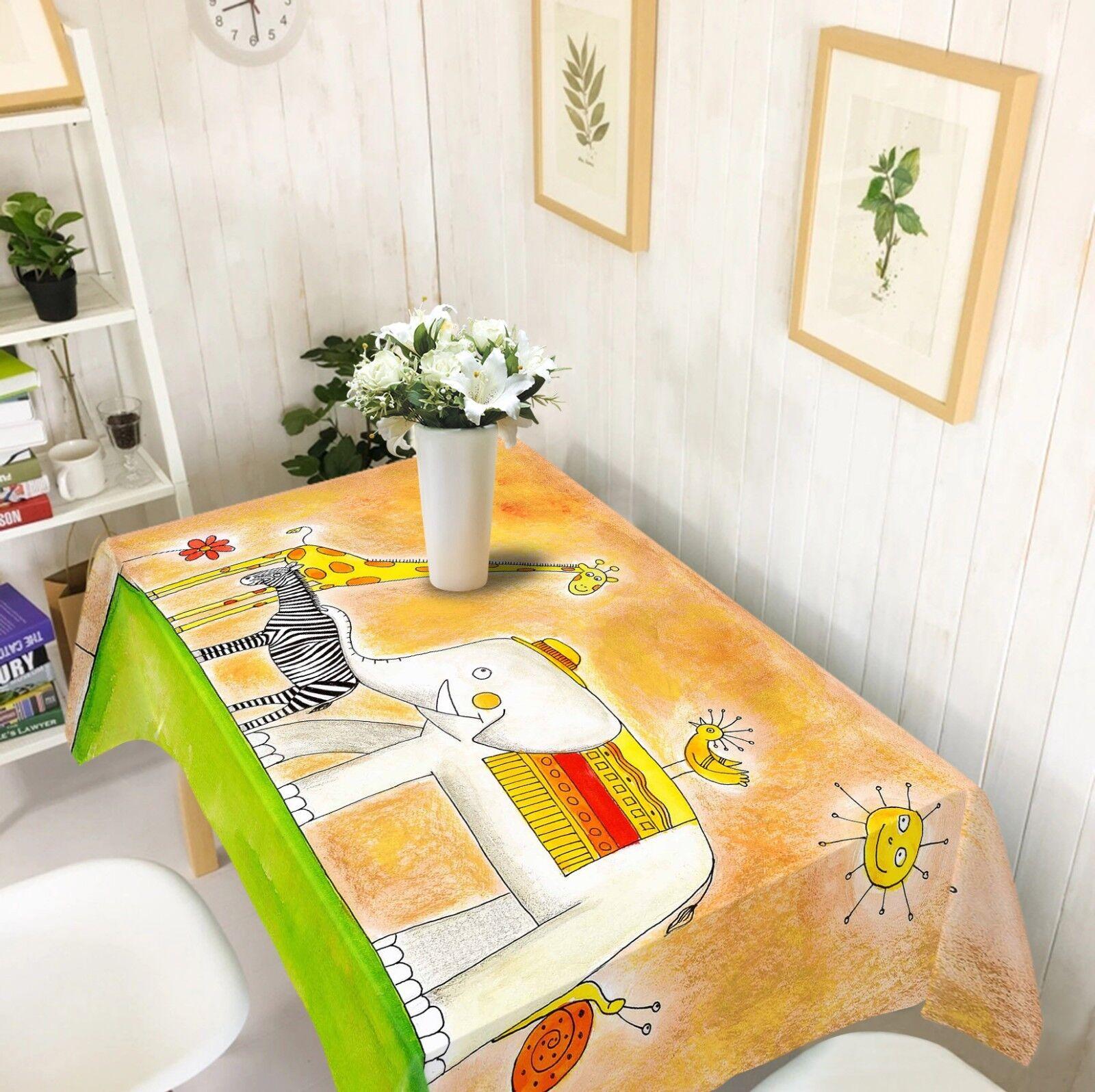 3D Paint Elephant 05 Tablecloth Table Cover Cloth Birthday Party Event AJ Lemon