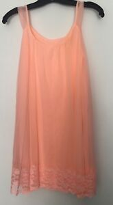 5507bc326e4 Vintage Women s Babydoll Nightie Gown Peach Sz Small Chiffon Nylon ...