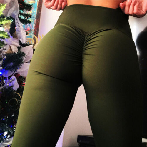 Womens Push Up Yoga Leggings Sports Pants High Waist Ruched Gym Fitness Workout