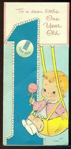 Image Is Loading Vintage Baby Birthday Greeting Card DEAR LITTLE ONE