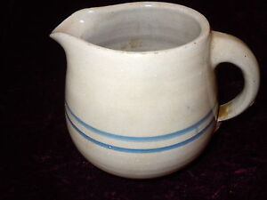 ANTIQUE SALT GLAZE STONEWARE CROCK PITCHER OLD BLUE BANDS VINTAGE JUG QUALITY