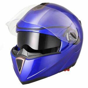 New-DOT-Flip-up-Modular-Full-Face-Motorcycle-Helmet-Dual-Visor-Motocross-Blue-XL