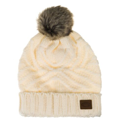 Animal Womens Cana//Becki Winter Woolly Knit Faux Fur Bobble Pom Pom Beanie Hat