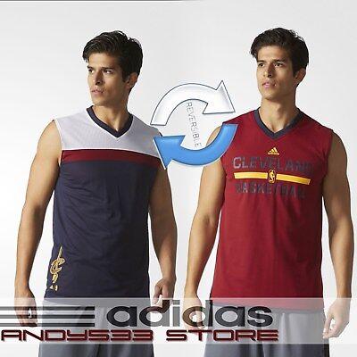 adidas Men's REVERSABLE Cleveland Cavaliers Summer Run Tank Tee Top 2in1 S L XL