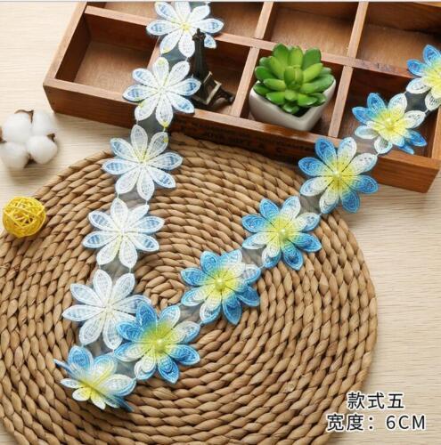 2 Yards multicolor Beading Doppelschicht Blumen Spitze Nähen Bekleidungszubehör