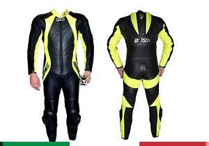 Tuta-per-moto-racing-da-pista-in-vera-pelle-intera-con-Gobba-48-50-52-54-56-58