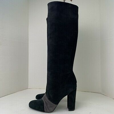 LADIES DOLCIS EMMA BLACK MID HEEL MEMORY FOAM LACE DETAIL KNEE HIGH BOOTS UK 8