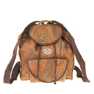 Authentic-ETRO-Logo-Drawstring-Backpack-Bag-Paisley-Nylon-Leather-Brown-02E242