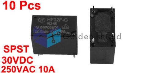 10Pcs HF32F-G//012-HS 4 terminal no solo tiro de un Polo Relé de potencia de 30VDC 250VAC 10A.